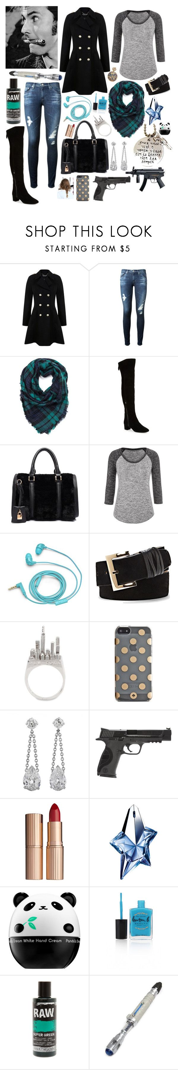 """""""DOCTOR WHO PRP:bio"""" by cyborgpuppyprincess ❤ liked on Polyvore featuring Miss Selfridge, AG Adriano Goldschmied, Nine West, maurices, FOSSIL, Vince Camuto, Anello, Kate Spade, Smith & Wesson and Charlotte Tilbury"""