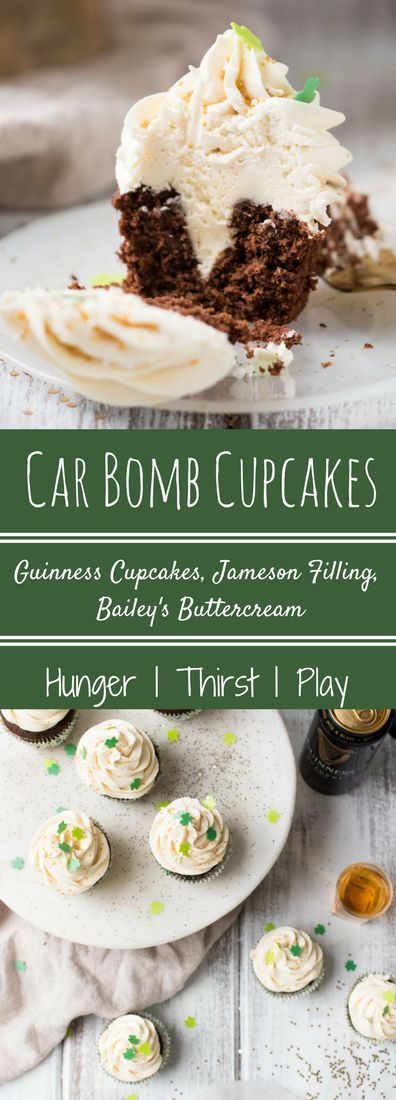 Rich, chocolate Irish stout cupcakes stuffed with creamy Jameson whiskey and topped in fluffy, sweet Bailey's buttercream. Indulge in this American cocktail inspired a St. Patrick's Day treat of Car Bomb Cupcakes that are perfectly sweet, just a little boozy, and won't piss off the bartender.