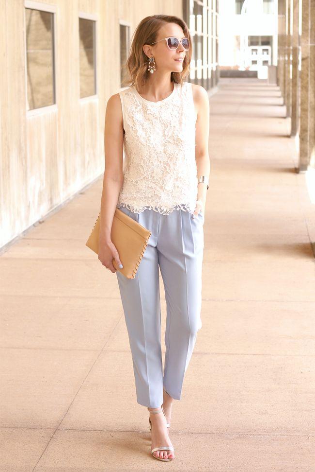 Spring / Summer - business casual - baby blue crop pants + white crochet tank + silver heel sandals + nude clutch + aviators