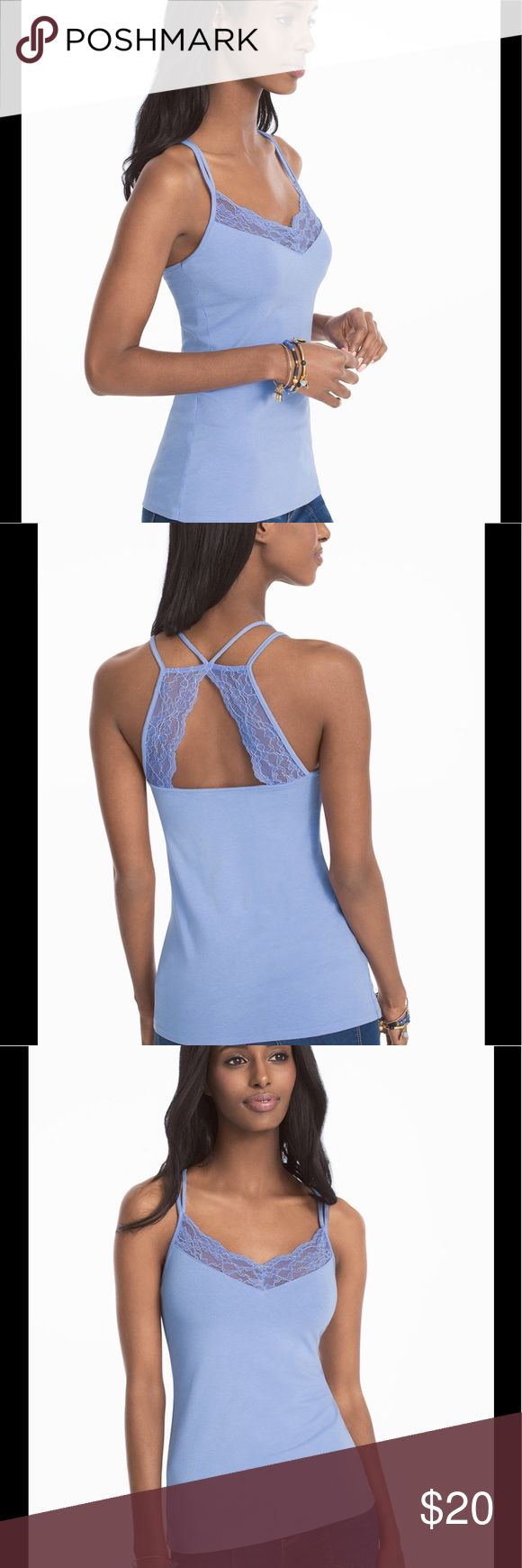 """White House Black Market Strappy Blue Cami Cute cami with lace details and a strappy back in a shade called """"summer sky"""". White House Black Market Tops Camisoles"""