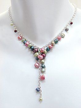Pink, Green, Plum and Peacock Mixed Freshwater Pearl Cascade Necklace