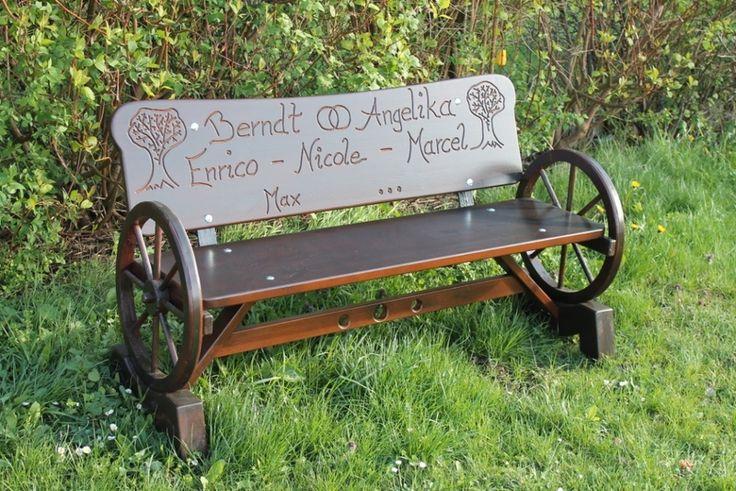 Holzbank, Gartenbank mit Gravur von Hö´s Holzkunst auf DaWanda.com
