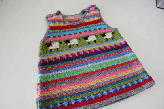 """Grey """"Sheep"""" Pinafore - Size 6 months - Hand Knitted in Pure Wool"""