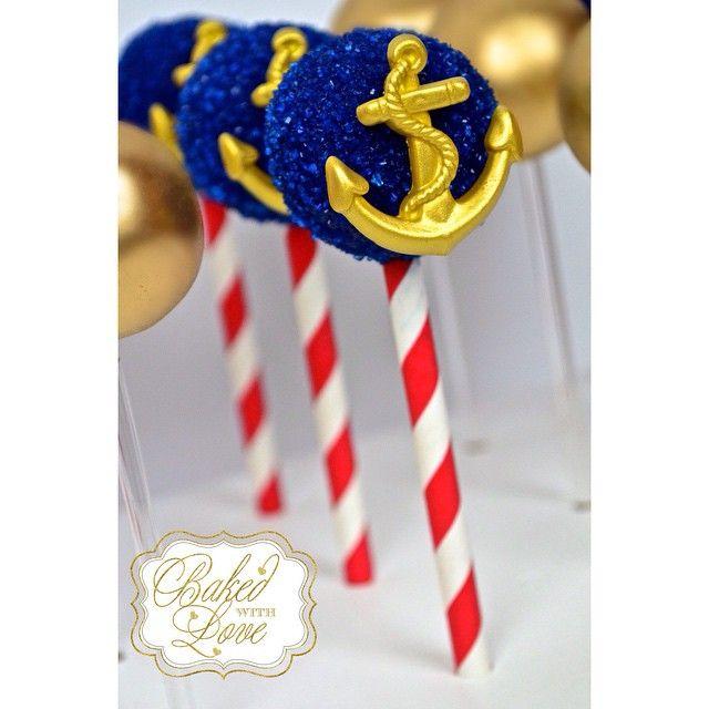 Anchor cake pops ⚓️❤️ #anchor #anchorpops #anchorcakepops #cakepops #edible #nauticalcakepops #nautical #nauticalpops #miami #miamicakepops #miamibaker #bakedwithlove