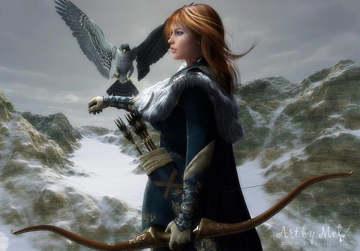 female fantasy warrior falcon bow and arrows furs blue white fanart and artwork. Black Bedroom Furniture Sets. Home Design Ideas