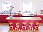 These cherry-pink cabinets are an unexpected kitchen color, but against the cream walls and white trim they really pop out.  For kitchen painting in Bellingham WA, visit us at http://www.northpinepainting.com