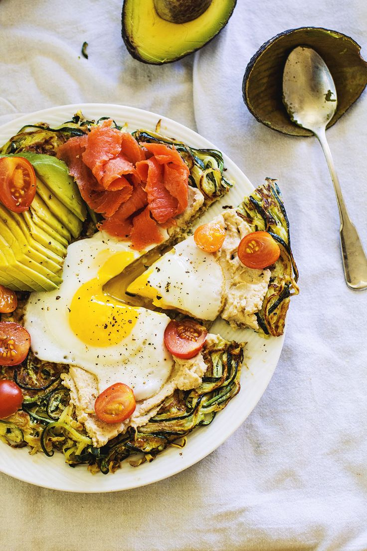 "Spiralized Zucchini Breakfast ""Pizza"" by thepancakeprincess #Breakfast #Zucchini_Pizza"