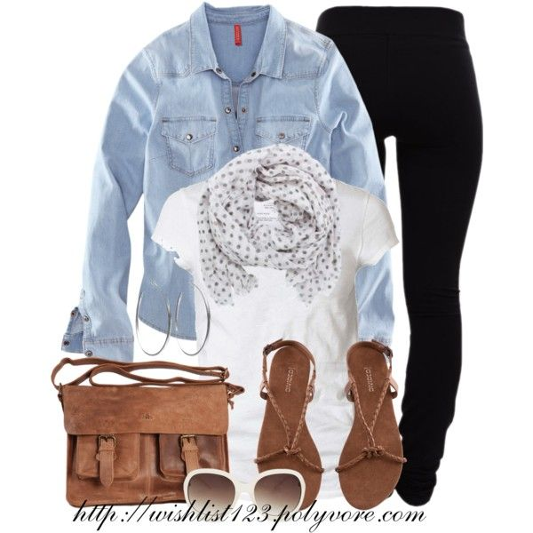 Denim Shirt- white short sleeve shirt, denim long sleeve shirt, black leggings and sandals