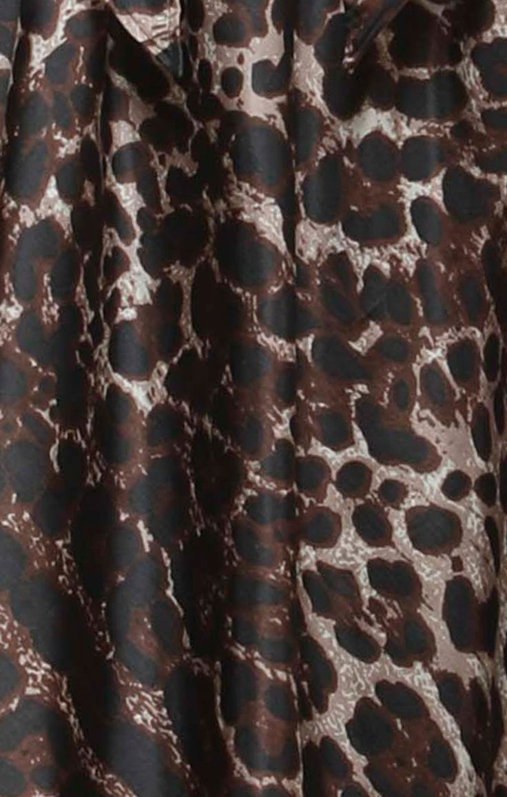 Fabric Close Up - Brigitta Knee Length Silk A-Line High Neck Dress In Leopard Print