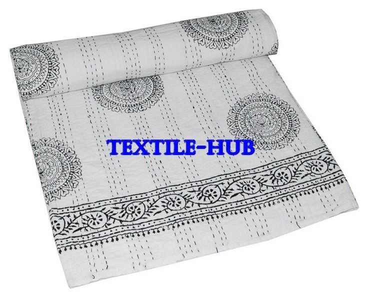 Indian Handmade Floral Print Queen Cotton Kantha Quilt Bedspread Throw Blanket #Handmade #Asian