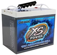 XS Power D2400 3500 Amp AGM Power Cell Car Audio Battery + Terminal Hardware