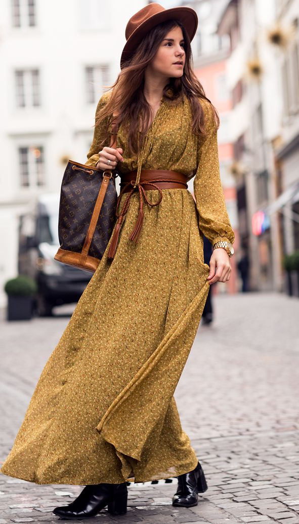 Bohemian Winter By The Fashion Fraction Yellow Mustard Dress Bell Sleeve Women Are Wearing
