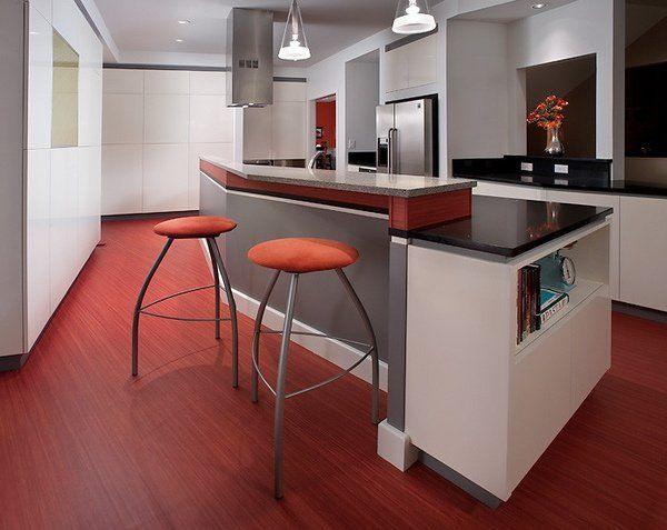 contemporary kitchen red linoleum flooring white kitchen gray - linoleum arbeitsplatte küche