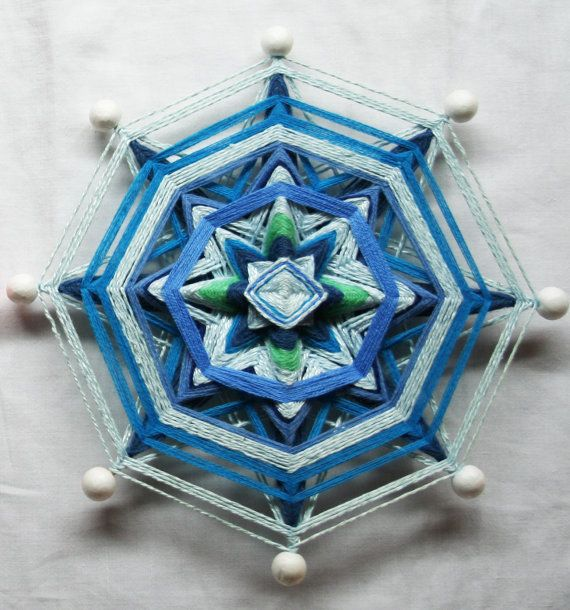 White Blue Mandala God's Eye by PsyMagic on Etsy, €30.00