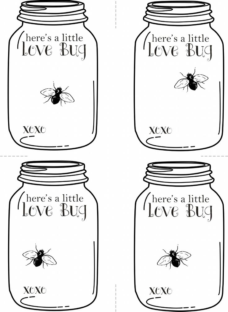 Valentine S Love Bug Mason Jar Printable Cards Mason Jar Cards
