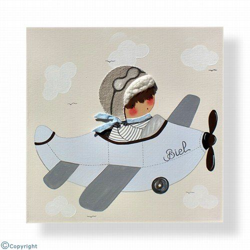 Cuadro infantil personalizado: Niño aviador (ref. 12000-03)