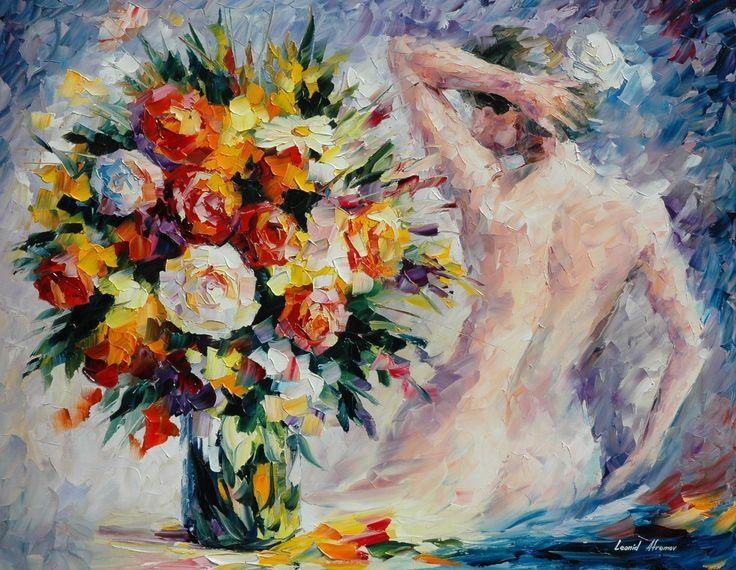 Букет цветов и девушка
