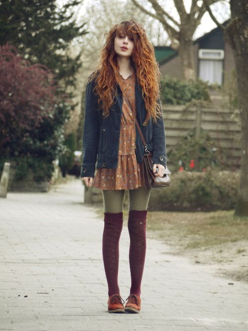 Olive leggings with lacey thigh-high stockings. Dress color matches the stockings