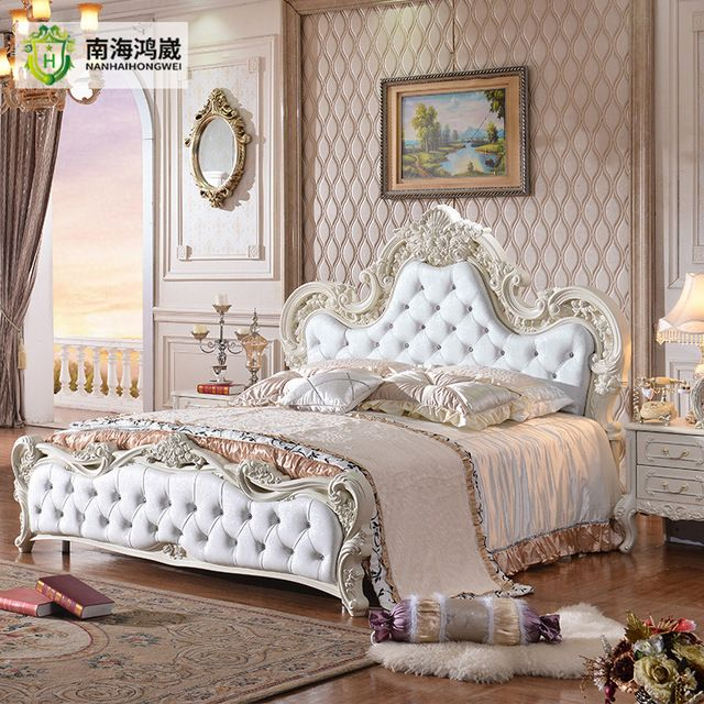 Wholesale Luxury French Baroque Style White Leather Upholstery Carved Rose Headboard King Size B Luxury White Bedroom Furniture Bed Design Bed Furniture Design