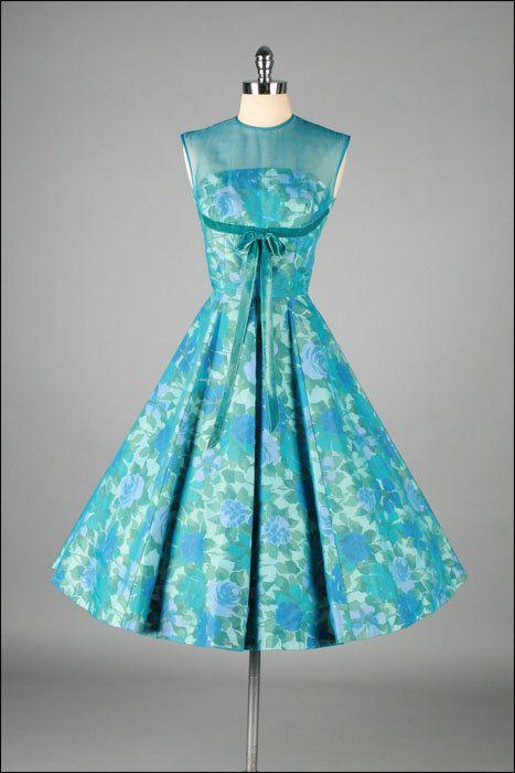 Vintage 1950s Dress . JANE PARKER . Aqua Chiffon . Floral Illusion . 3176. $235.00, via Etsy.