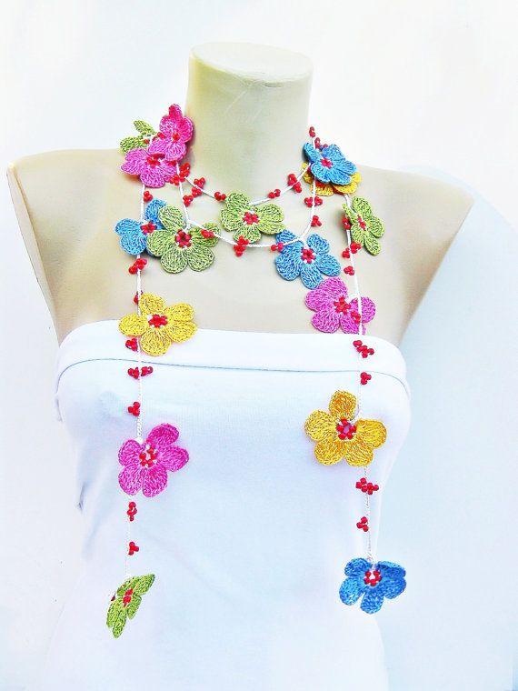 Beaded Crochet jewelry/crochet pendant / crochet by SenasShop