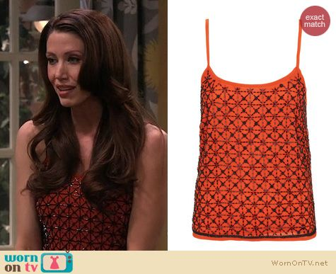 Anita (Shannon Elizabeth)'s orange beaded top on Melissa and Joey.  Outfit details: http://wornontv.net/17442/
