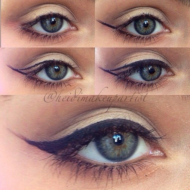 .@heidimakeupartist    Winged liner Pictorial! I know it's a bit different to how others do it, but...   Webstagram