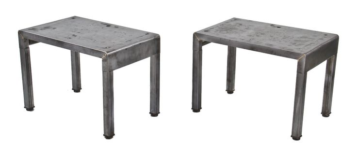 two matching late 1930's american industrial pressed and folded steel simmons furniture lightweight vanity benches with a mostly uniform brushed metal finish