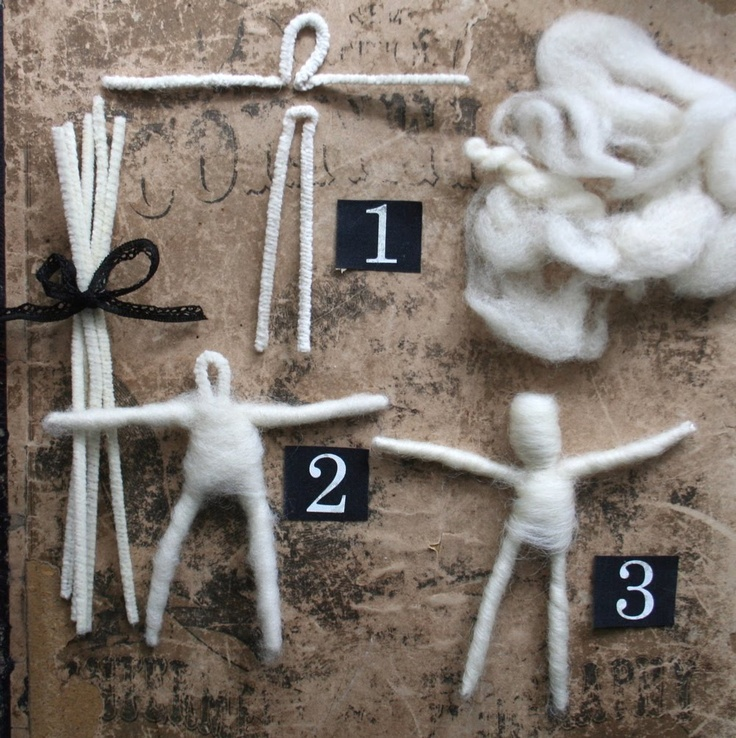 Basic directions for making a small poseable doll using wool roving and pipe cleaners. From the adventures of bluegirlxo.