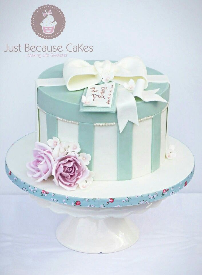 Elegant Hat Box Style 90th Birthday Cake.   #elegantcakes #90thbirthdaycakes #sugarroses #cakeswithstripes