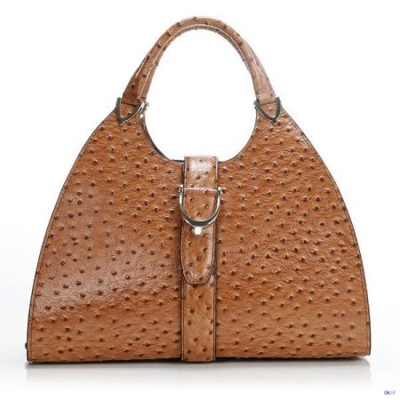 Gucci Stirrup Ostrich Leather Top Handle Bag Brown