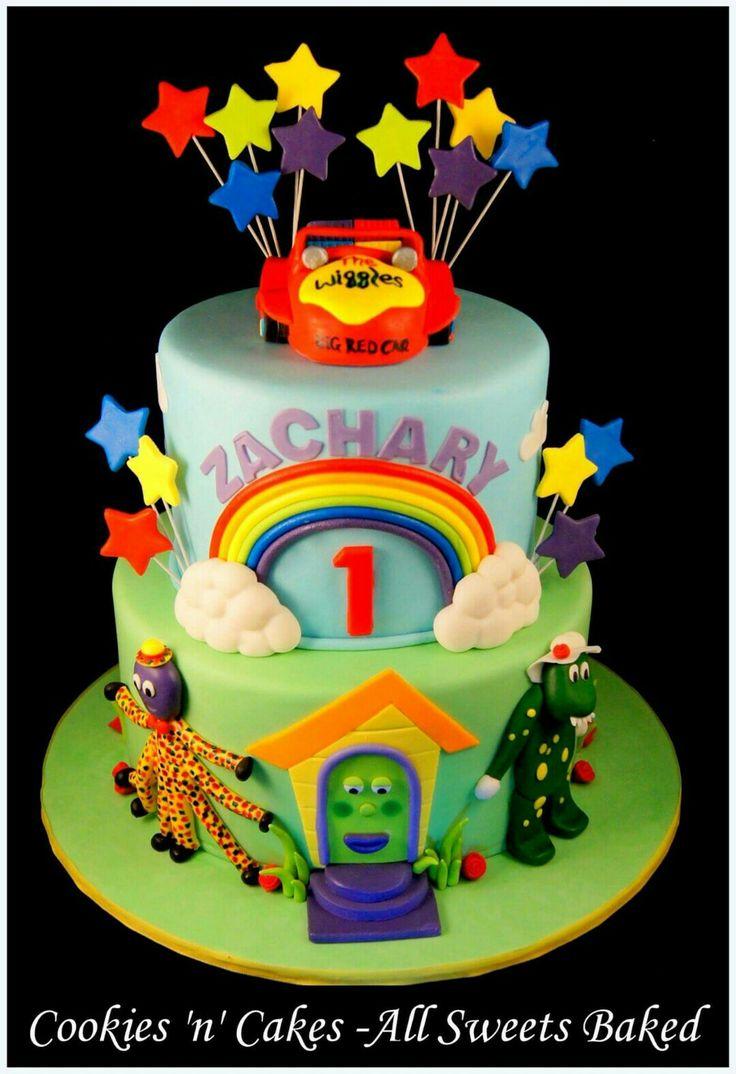 Wiggles cake, 1st birthday cake, Dorothy the dinosaur, Henry the octopus, big red cake.