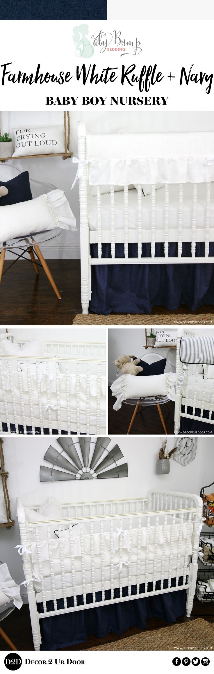 Who says ruffles can't scream boy baby nursery?! This Farmhouse White Ruffle and Navy baby boy bedding is sweet, masculine, and timeless. Our brand new design is featured on the ruffle linen rail guards and ruffle linen bumper set.PS: Our bumper set is now anEXCLUSIVE D2D BBB Grow With Medesign. Use the 4 pieces as a bumper set - then use the two long pieces as rail guards as the baby grows. 2-in-1 bumper set/rail guards!This white and navy neutral baby boy bedding set is simple yet…