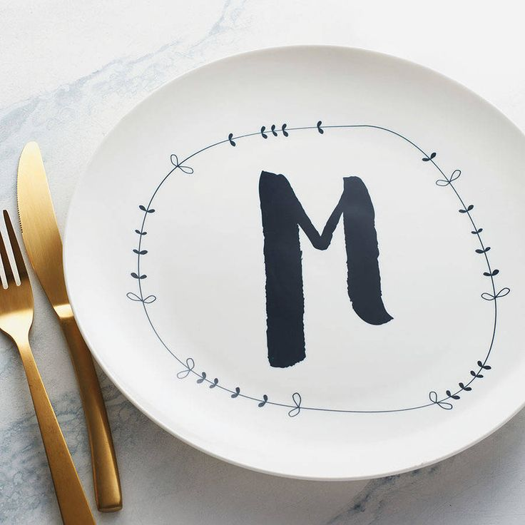 personalised letter ceramic plate by a piece of | notonthehighstreet.com