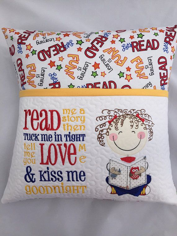 Grab your pillow with your favorite book inside the pocket and head to bed, or travel anywhere you want! Add a flashlight and a small stuffed animal and you are all set for a night at Grandmas house. Reading pillows make a great gift for friends or family. This cute pillow features Fabric that says Lets Read and Learning is Fun! This pillow has a quilted pocket for softness and durability.The curly haired girl is reading about owls and the poem reads: Read me a story Then tuck me in tight…