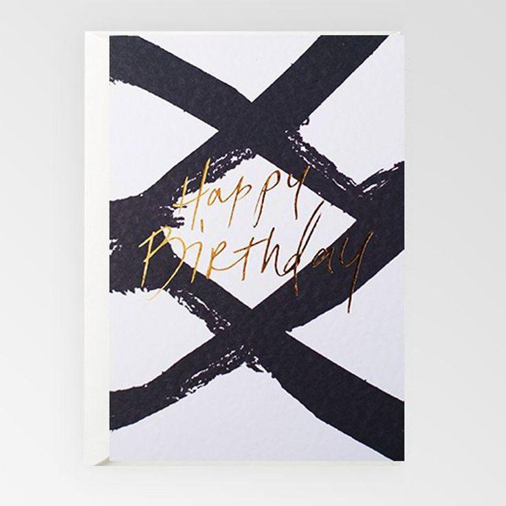 Happy Birthday B&W Gold Foil Gift Card