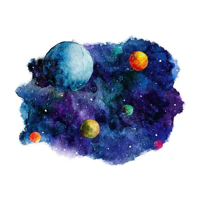 Watercolor Illustration - Star Stuff - Planets