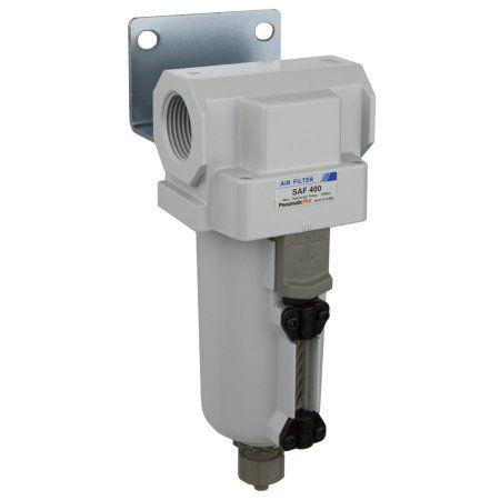 PneumaticPlus SAF400-N04B-MEP Compressed Air Particulate Filter 1/2 inch NPT, 10 Micron - Metal Bowl, Manual Drain, Bracket