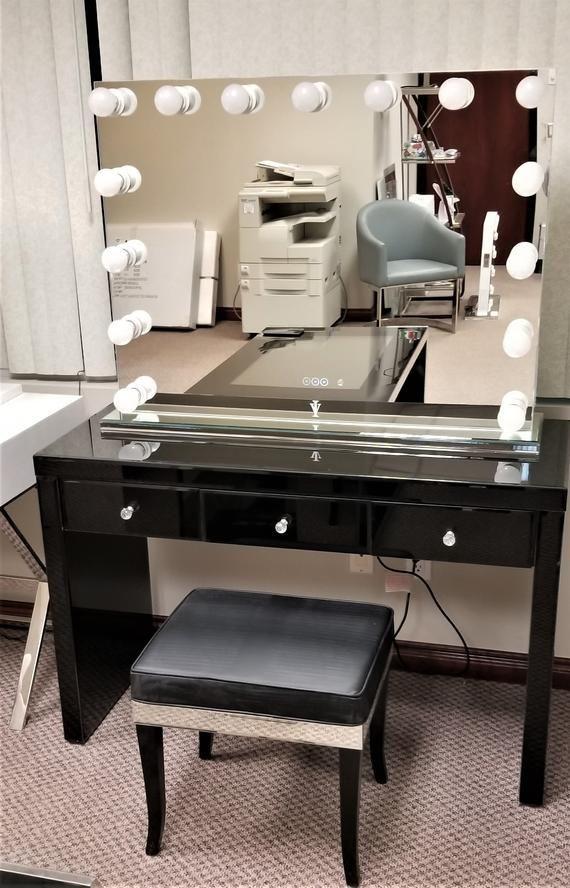 Onyx Black Glass Makeup Vanity Table 3 Spacious Drawers Etsy