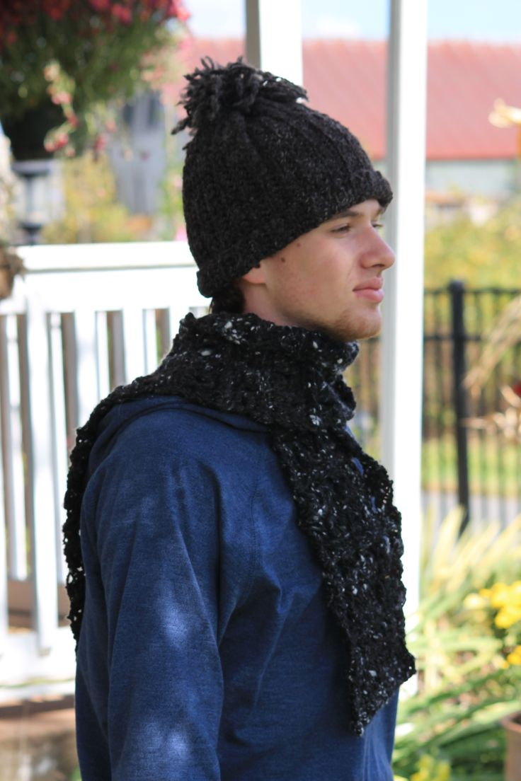 Handspun knitted wool hat and handspun wool and angora crocheted scarf