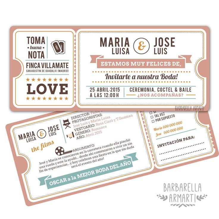 Invitación de Boda, entrada de cine, para una Boda de Cine! #cine #boda #invitacion