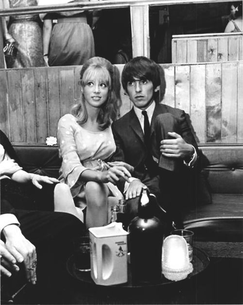 June 1964. Pattie and George enjoying a night at the Saddle Room in the company of John Junkin.