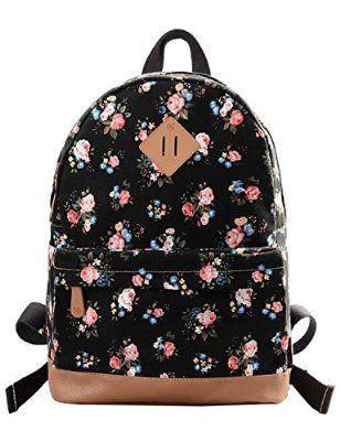 Douguyan - Mochila para mujer, Bolso escolar,Mochila de viaje,Mochilas Tipo Casual,Lona y PU cuero - E00133 Negro