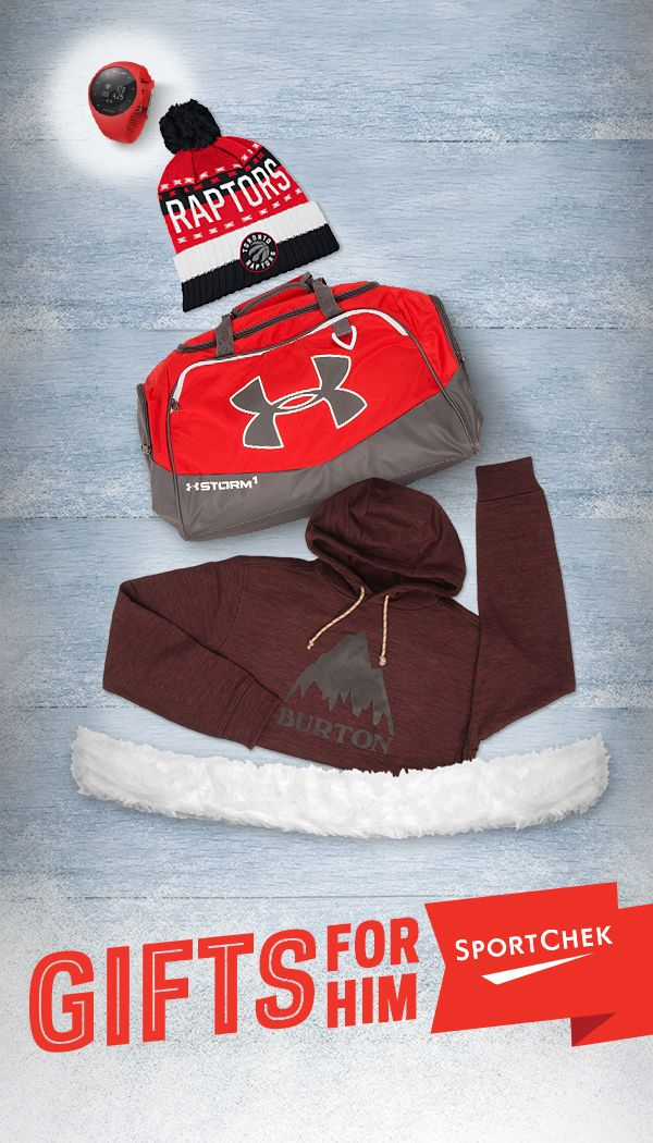 Looking for the perfect gift for the man in your life? We've got you covered. #GiveABetterGift Top to bottom: 1. Polar M200 in red  2. Raptors Tri-Color Cuffed Pom Knit Hat  3. Under Armour Undeniable II Duffel  4. Burton Oak Men's Pull Over Hoodie