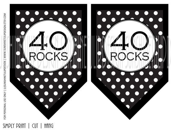 Welcome to SUNSHINETULIPDESIGN! This classy Black and White 40 ROCKS banner design is perfect for your 40th Birthday Party theme! Each piece is approx 5 x 7.5 in size. You will receive (2) 40 ROCKS polka dot pieces , (2) 40 ROCKS chevron pieces (2) 40 ROCKS damask pieces and