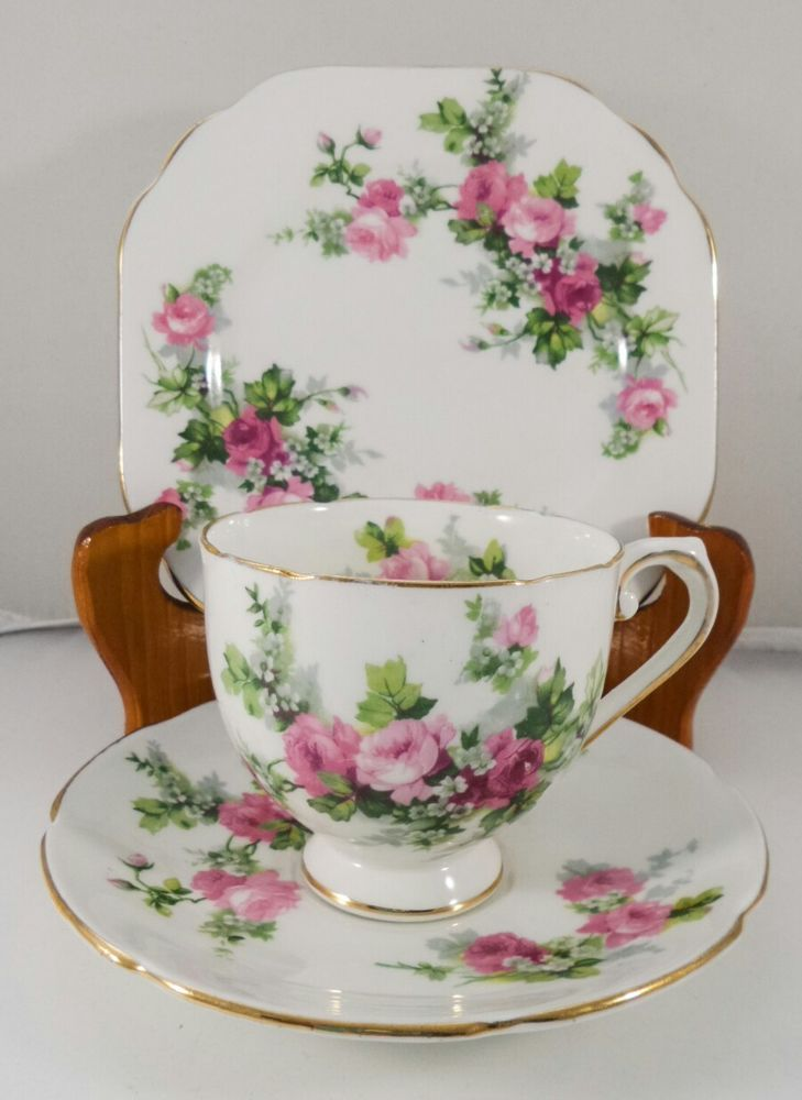 Vintage Stanley Pink Roses Bone China Teacup Trio Tea set Floral Made in England in Pottery, Glass, Pottery, Porcelain, Tea Pots, Trios | eBay!