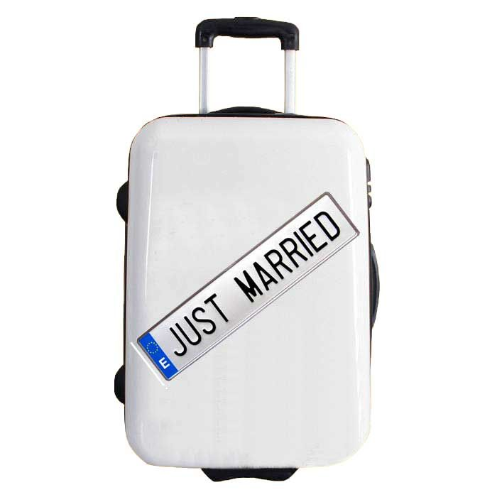 sticker for suitcases model just married