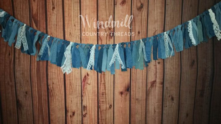 Denim Lace Garland, Country Wedding Decor, Rustic Barn Wedding, Denim Party Decorations, Blue Jean Swag Banner http://etsy.me/2FnUDbz