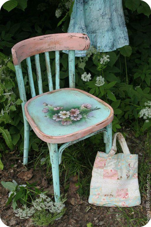 """Купить Винтажный стул """"Голубая мечта"""" - тёмно-бирюзовый, стул, Декупаж, красивый стул, потертости"""
