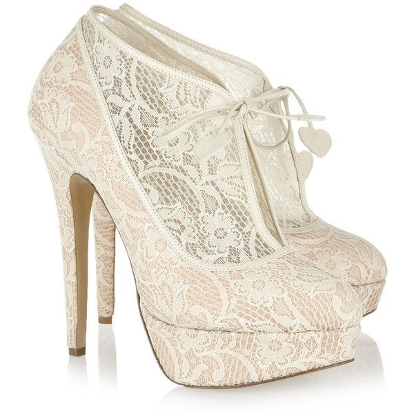Charlotte Olympia Minerva lace and satin ankle boots via Polyvore